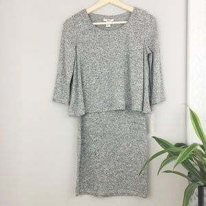 Bar III NWT Marled Faux cape dress Small